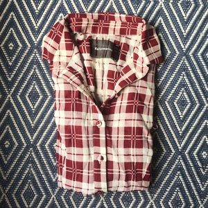Reformation Red White Plaid Button Down Blouse